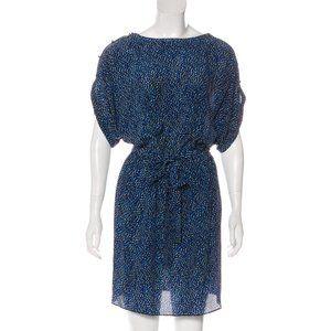 100% silk blue leopard-print Rachel Zoe dress